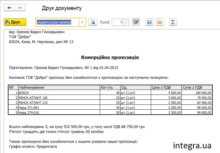 Коммерческое предложение. Печатная форма в BAS Управління Торгівлею