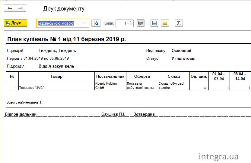 Печатная форма плана закупок в BAS Управління Торгівлею.